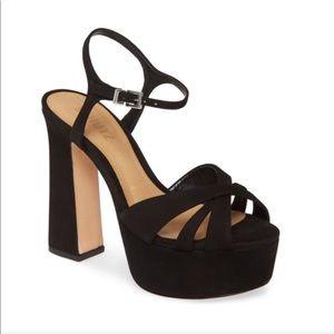 SCHUTZ Suede Platform Sandal Black
